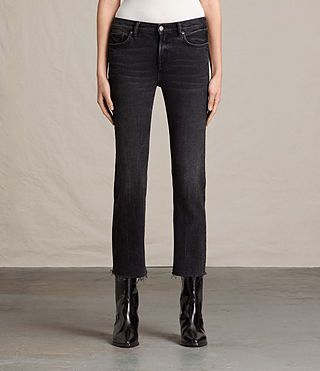Damen Zoe Cropped Bootcut Jeans (Washed Black)