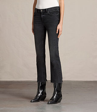 Womens Zoe Cropped Bootcut Jeans (Washed Black) - product_image_alt_text_4