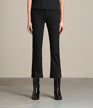 Womens Zoe Cropped Bootcut Jeans (Jet Black)