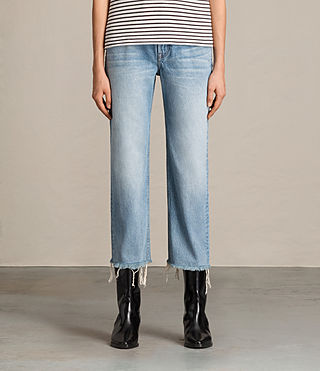 Damen Mazzy Straight Crop Jeans (Indigo Blue)