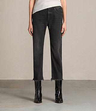 Mujer Mazzy Cropped Wide Jeans (Washed Black)