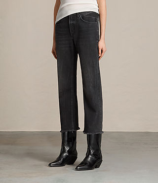 Femmes Jean bootcut Zoe court (Washed Black) - product_image_alt_text_4