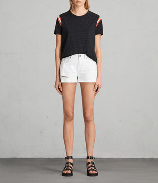 Womens Serene Embroidered Denim Shorts (White) - product_image_alt_text_1