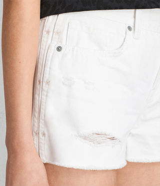 Womens Serene Embroidered Denim Shorts (White) - product_image_alt_text_2