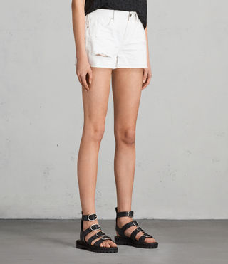 Mujer Shorts bordados de denim Serene (White) - product_image_alt_text_3