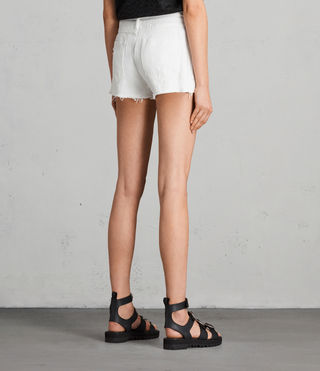 Mujer Shorts bordados de denim Serene (White) - product_image_alt_text_4