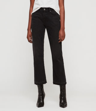 Ava Straight High-Rise TY Jeans, Black