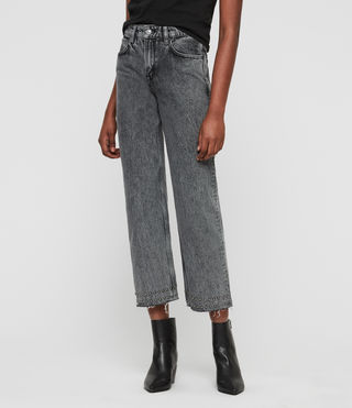 Ava Straight Stud Hem High-Rise Jeans, Acid Black