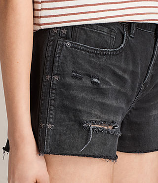 Women's Serene Embroidered Denim Shorts (Washed Black) - product_image_alt_text_2