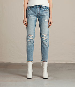 Womens Muse Slim Destroys Jeans (MID INDIGO BLUE) - product_image_alt_text_1