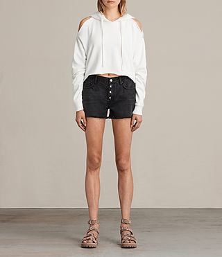 Mujer Shorts Button Boy (Washed Black) - Image 1