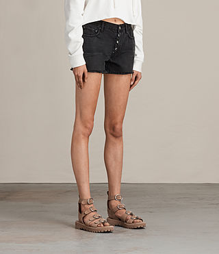 Damen Button Boy Shorts (Washed Black) - Image 3