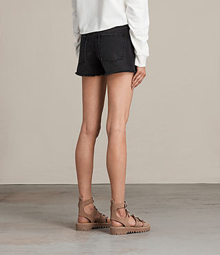 Women's Button Boy Shorts (Washed Black) - product_image_alt_text_4