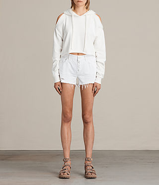 Womens Button Boy Shorts (White) - product_image_alt_text_1