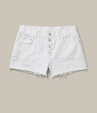 Womens Button Boy Shorts (White) - Image 2