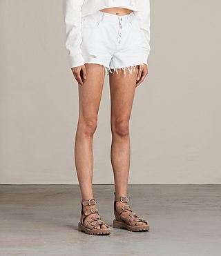 Womens Button Boy Shorts (White) - Image 4