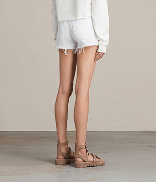 Womens Button Boy Shorts (White) - product_image_alt_text_5