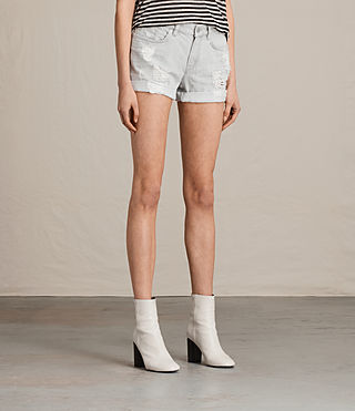Women's Pam Denim Shorts (Pale Grey) - Image 3