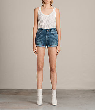 Damen Helena High Waist Denim Shorts (Indigo Blue) -