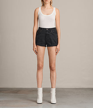 Womens Helena High Waist Denim Shorts (Washed Black) - product_image_alt_text_1