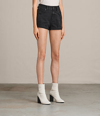 Womens Helena High Waist Denim Shorts (Washed Black) - product_image_alt_text_3