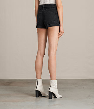 Womens Helena High Waist Denim Shorts (Washed Black) - product_image_alt_text_4