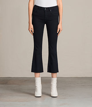 Damen Heidi Cropped Flare (DARK INDIGO BLUE) -