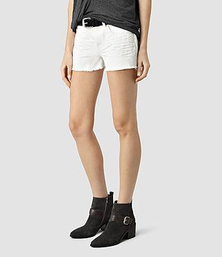 Womens Sasha Boys Shorts (White) - product_image_alt_text_2