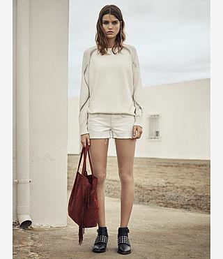 Womens Sasha Boys Shorts (White) - product_image_alt_text_5