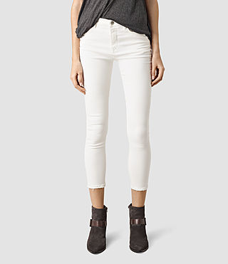 Womens Nim Highwaisted Crop Jeans (Chalk White)