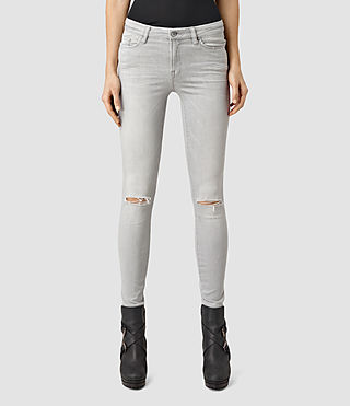 Womens Grace Slashed Jeans (Light Grey)