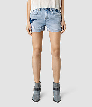 Mujer Birds Embroidered Denim Shorts (Indigo Blue) - product_image_alt_text_2