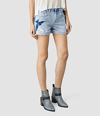 Mujer Birds Embroidered Denim Shorts (Indigo Blue) - product_image_alt_text_3