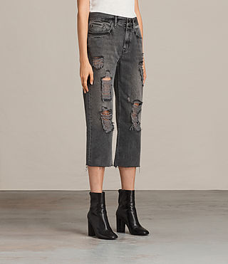 Women's Ivy Destroys Boys Jeans (Grey) - Image 4