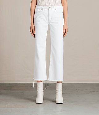 Women's Belle Cropped Flare Jeans (White) -