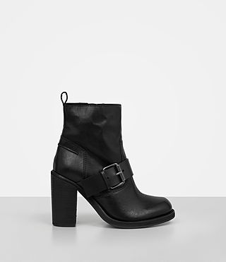 Damen Zadie Heeled Shearling Boot (Black)