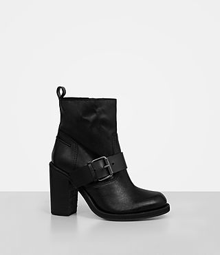 Damen Zadie Heeled Shearling Boot (Black) - product_image_alt_text_3