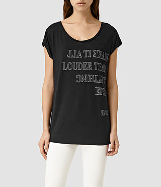 Womens Louder Boyfriend Tee (Black)