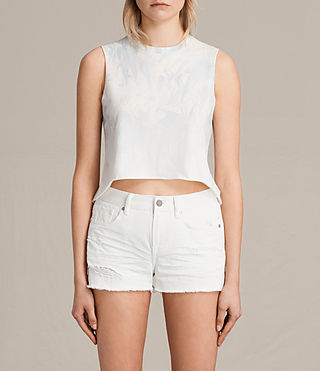Damen Tropix Cropped Tee (Chalk White) -