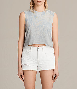 Mujer Camiseta Tropix Cropped (Light Grey Marl) -