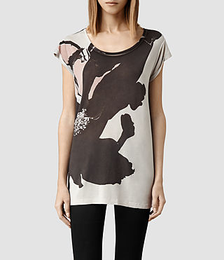 Womens Ombre Floral T-shirt (Stone)