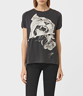 Womens Flutter Mazzy Tee (Washed Black) - product_image_alt_text_1