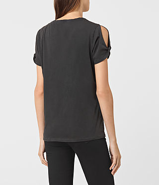 Damen Flutter Mazzy Tee (Washed Black) - product_image_alt_text_3