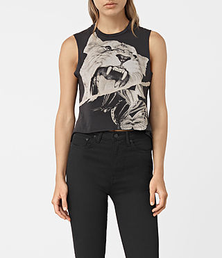 Womens Flutter Cropped Tee (Fadeout Black)