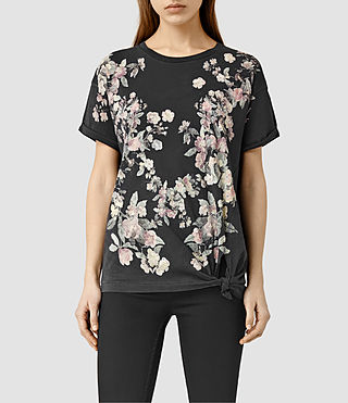 Womens Posie Heny T-Shirt (Faded Black)