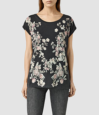 Womens Posie Boyfriend Tee (Faded Black)