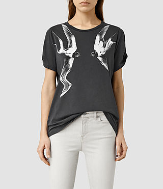 Womens Swooping Mazzy T-Shirt (Faded Black)