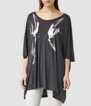 Womens Swooping Dream Oversize T-Shirt (Deep Black)