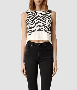 Womens Tigre Cropped Tee (Chalk)