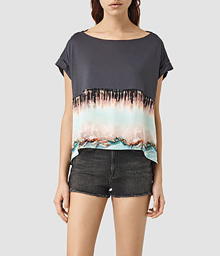 Damen Crystal Pina Tee (Deep Black) -